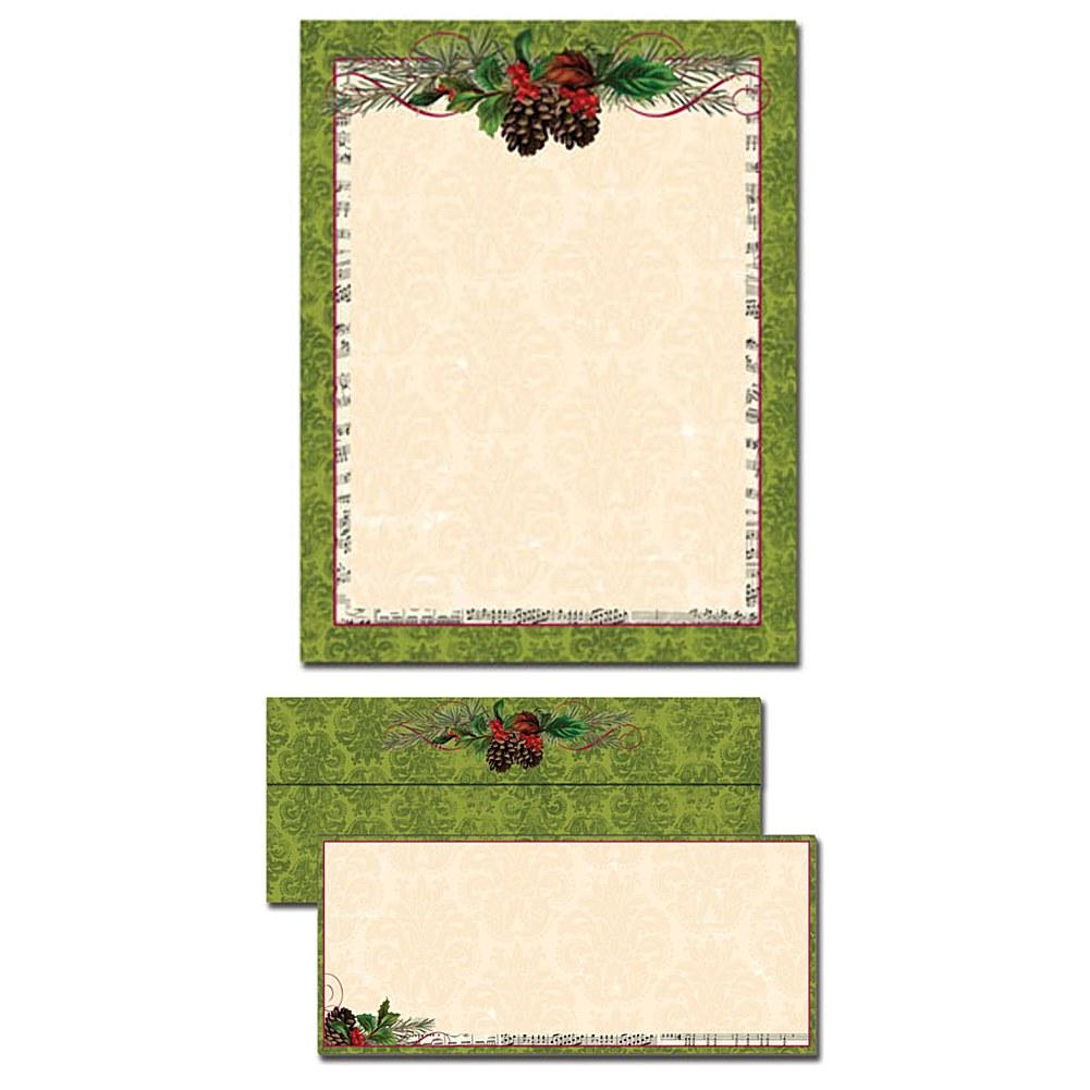 Pinecone Garland Letterhead With Matching Envelopes - Sophie's Favors and Gifts