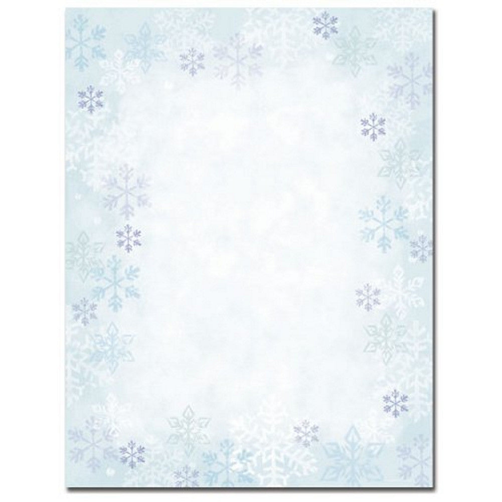 Blue Snowflakes Christmas Stationery Sheets - Sophie's Favors and Gifts