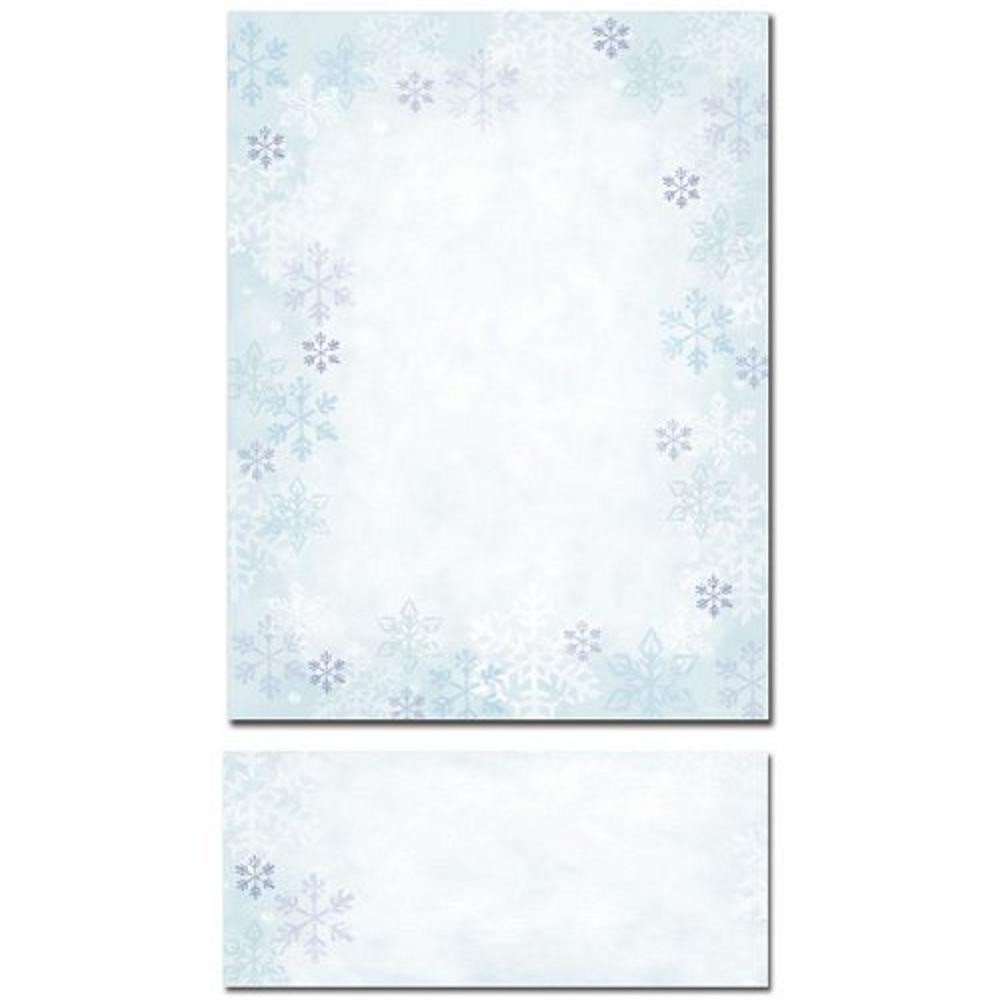 Blue Snowflakes Christmas Stationery Sheets and Matching Envelopes, snowflake letterhead, snowflake stationery, snowflakes stationery, snowflake stationary, Christmas