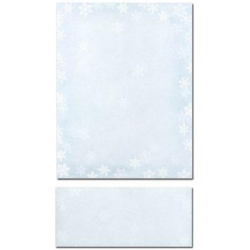 Winter Flakes Letterhead Sheets and Winter Flakes Envelopes, winter letterhead, snowflakes letterhead, snowflakes stationary, snowflake letterhead, Christmas