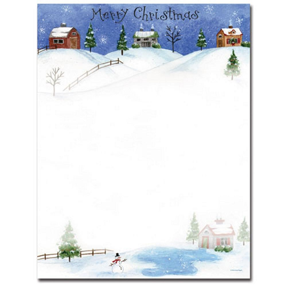 Folk Art Village Letterhead Sheets, christmas letterhead, christmas stationery, holiday stationery, christmas letter stationery, Stationery & Letterhead