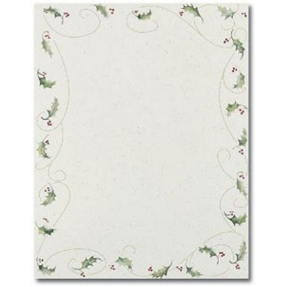 Holly Bunch Letterhead Sheets  , printable holiday letterhead, holly stationery, holly letterhead, xmas letterhead, Christmas