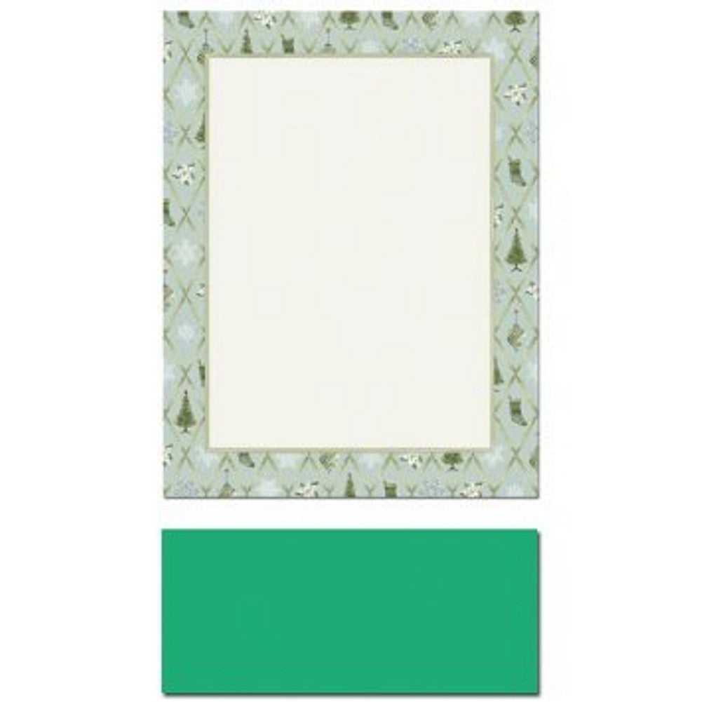 Christmas Cross Hatch Letterhead Sheets and Green Envelopes - Sophie's Favors and Gifts
