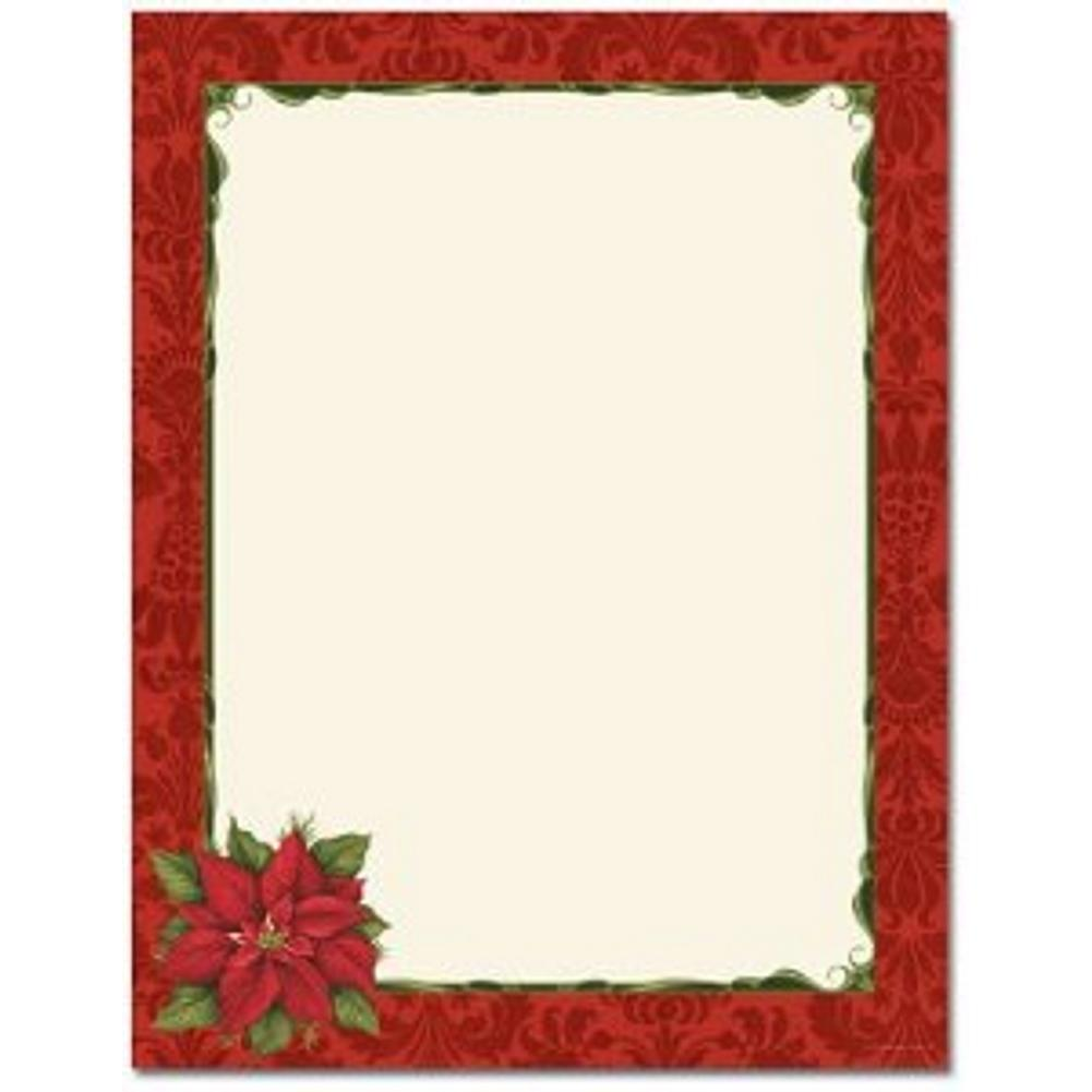 Poinsettia Damask Letterhead Sheets - Sophie's Favors and Gifts