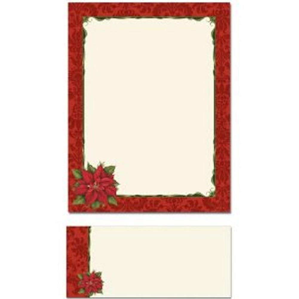 Poinsettia Damask Letterhead Sheets and Poinsettia Damask Envelopes, printable christmas letterhead, poinsettia letterhead, poinsetta letterhead, poinsetta stationery, Christmas