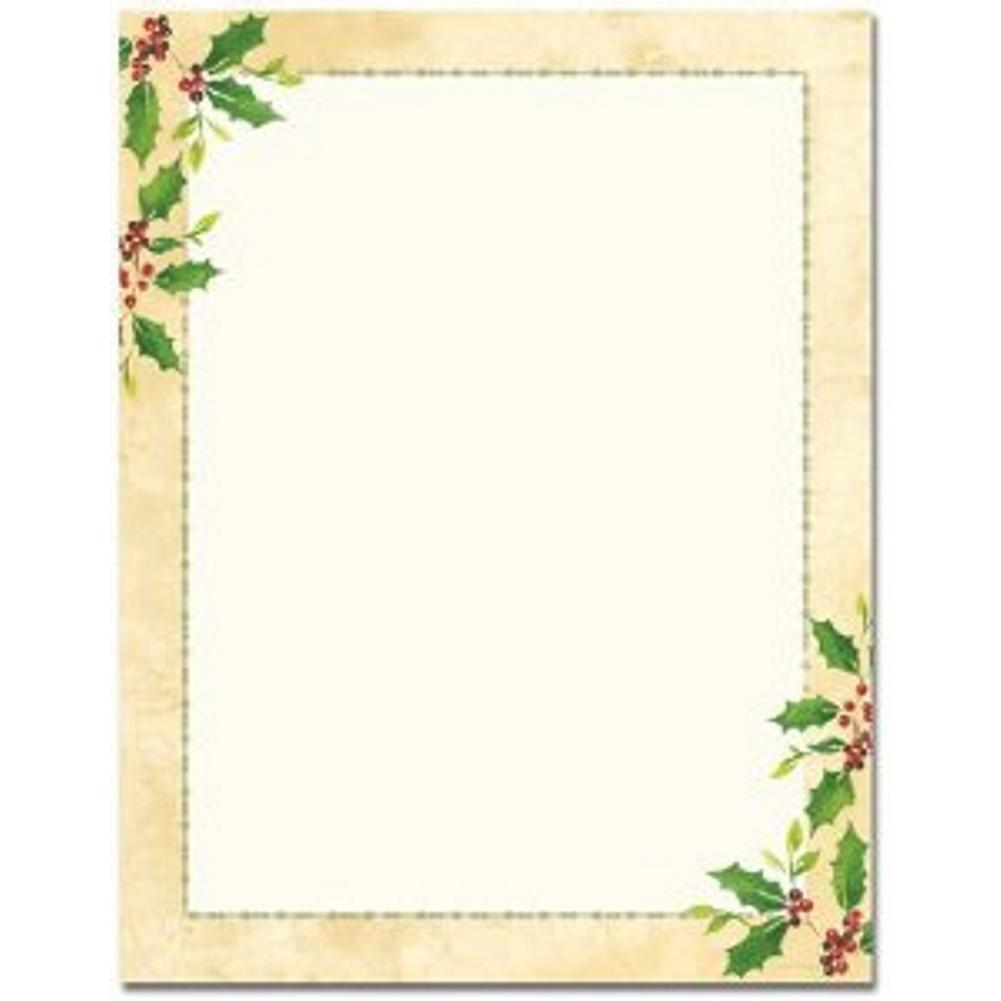 Falling Holly Christmas Letterhead Sheets - Sophie's Favors and Gifts