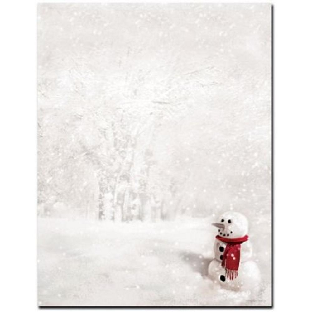 Snowman in Red Scarf Letterhead Sheets  , xmas letterhead, snowman letterhead, snowman stationary, holiday letterhead, Christmas