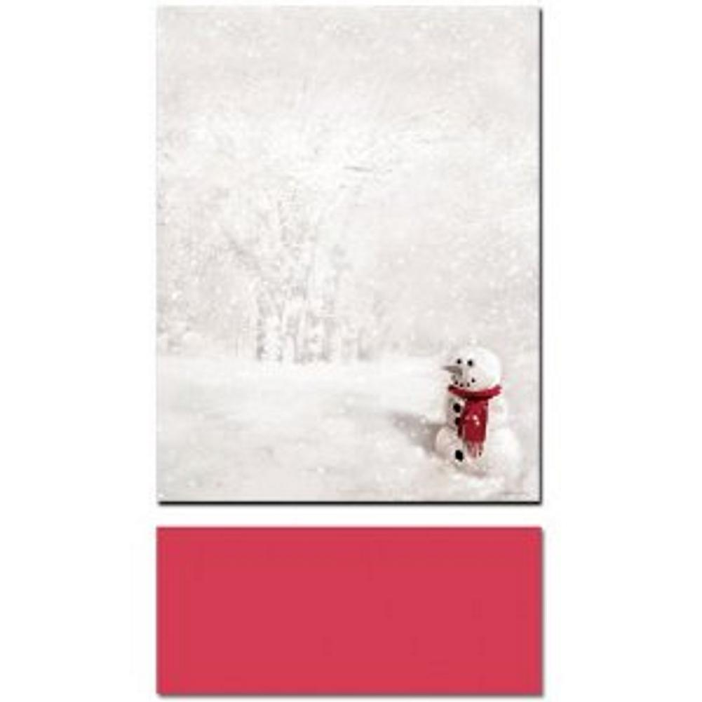 Snowman in Red Scarf Letterhead Sheets and Red Envelopes, xmas letterhead, snowman letterhead, snowman stationary, holiday letterhead, Christmas
