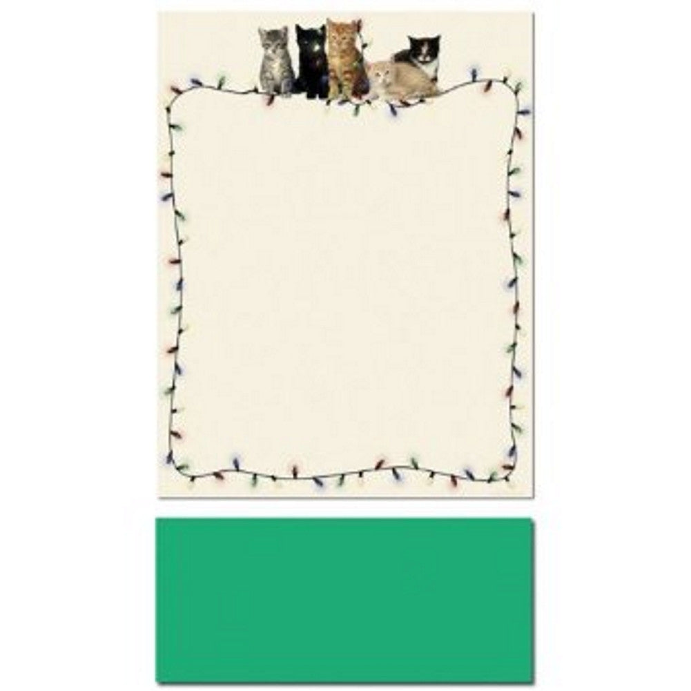 Christmas Kitties Letterhead Sheets and Green Envelopes, printable christmas letterhead, kitten letterhead, kitten stationery, christmas kitten stationery, Christmas & Holiday Items