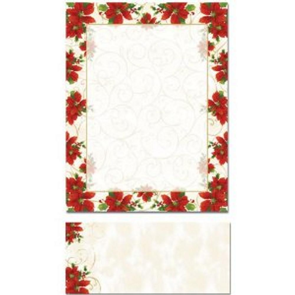 Poinsettia Swirl Letterhead Sheets and Poinsettia Swirl Envelopes - Sophie's Favors and Gifts