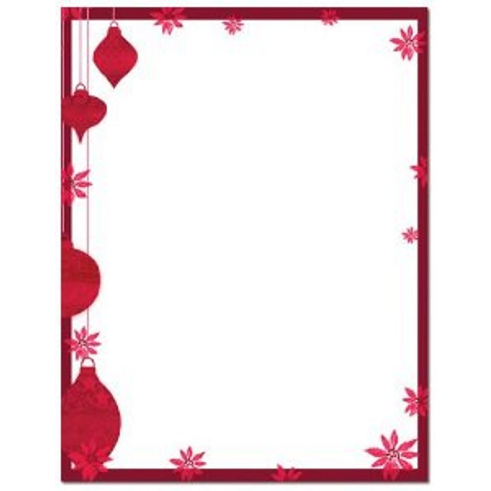 Painted Poinsettia Christmas Letterhead Sheets - Sophie's Favors and Gifts