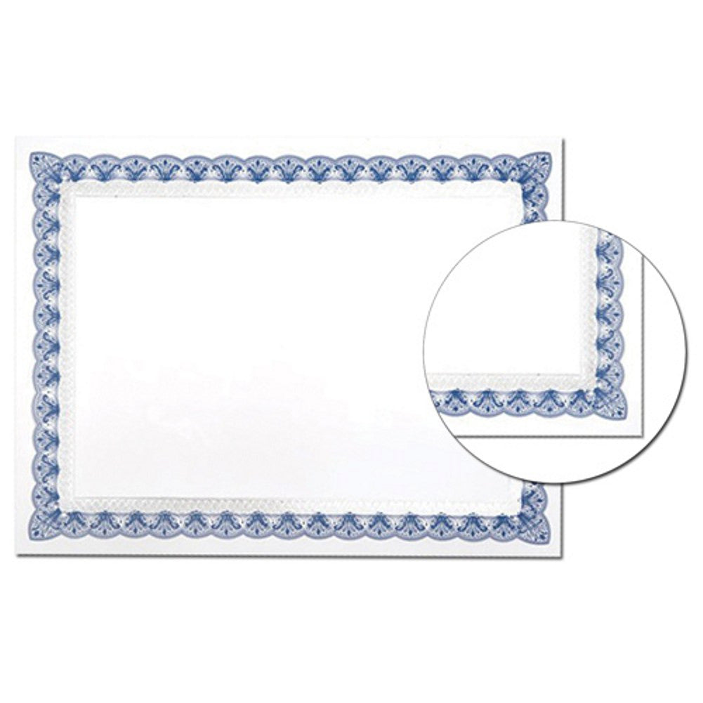 Blue and Silver Border Certificates (Pack of 15) - Sophie's Favors and Gifts