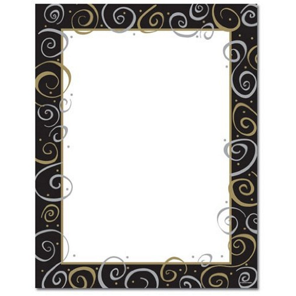 100 Silver and Gold on Black Stationery Sheets - Sophie's Favors and Gifts