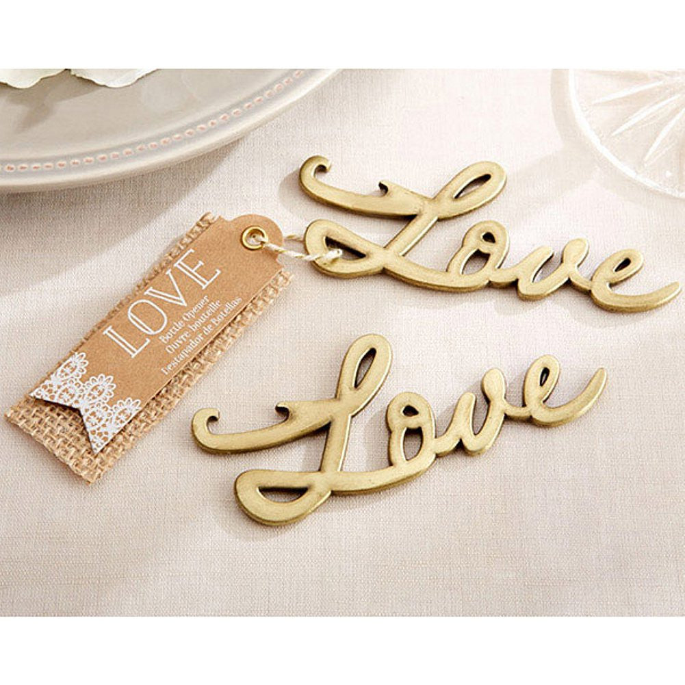 Love Antique Gold Bottle Opener, love party favor, love wedding favor, gold anniversary favor, gold wedding favor, Practical Favors
