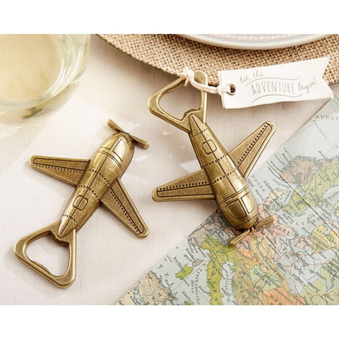 Let The Adventure Begin Airplane Bottle Opener, bon voyage party favor, bon voyage favor, airplane party favor, airplane wedding favor, Practical Favors