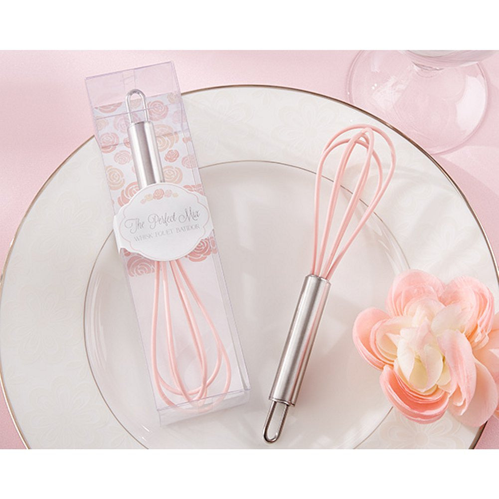The Perfect Mix Pink Kitchen Whisk, pink bridal shower favor, pink wedding favor, practical wedding favor, practical bridal shower favor, Practical Favors