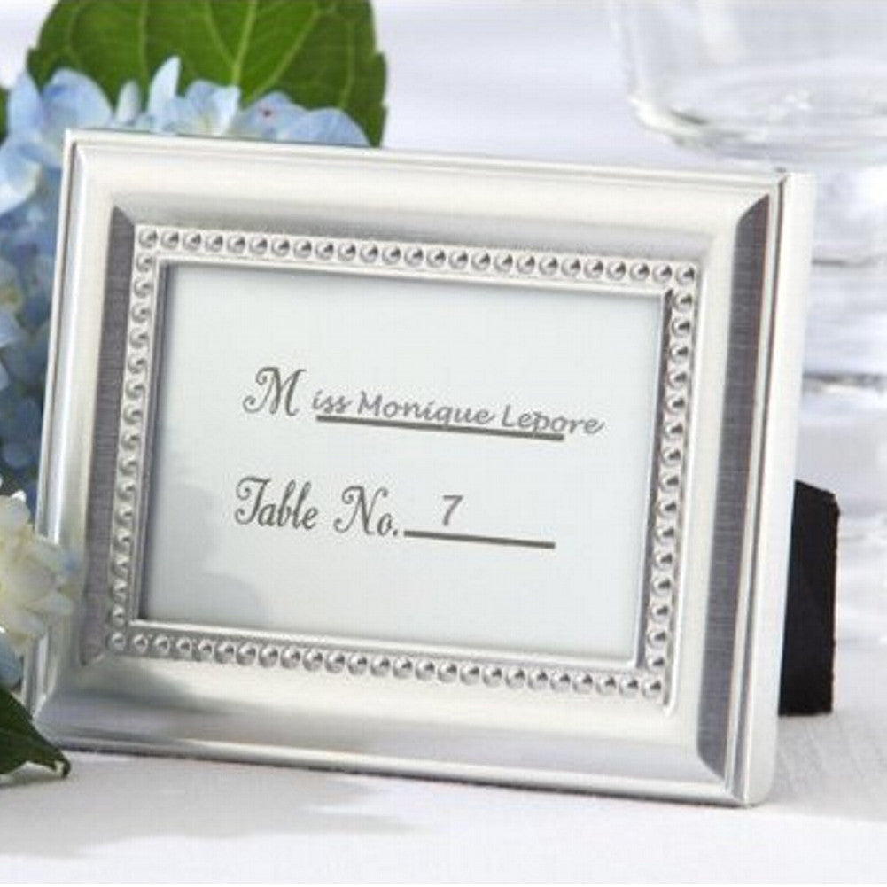 Beautifully Beaded Photo Frame and Placeholder, frame favor, picture frame favor, picture frame place card holder, elegant wedding favor, Table Decorations & Centerpieces