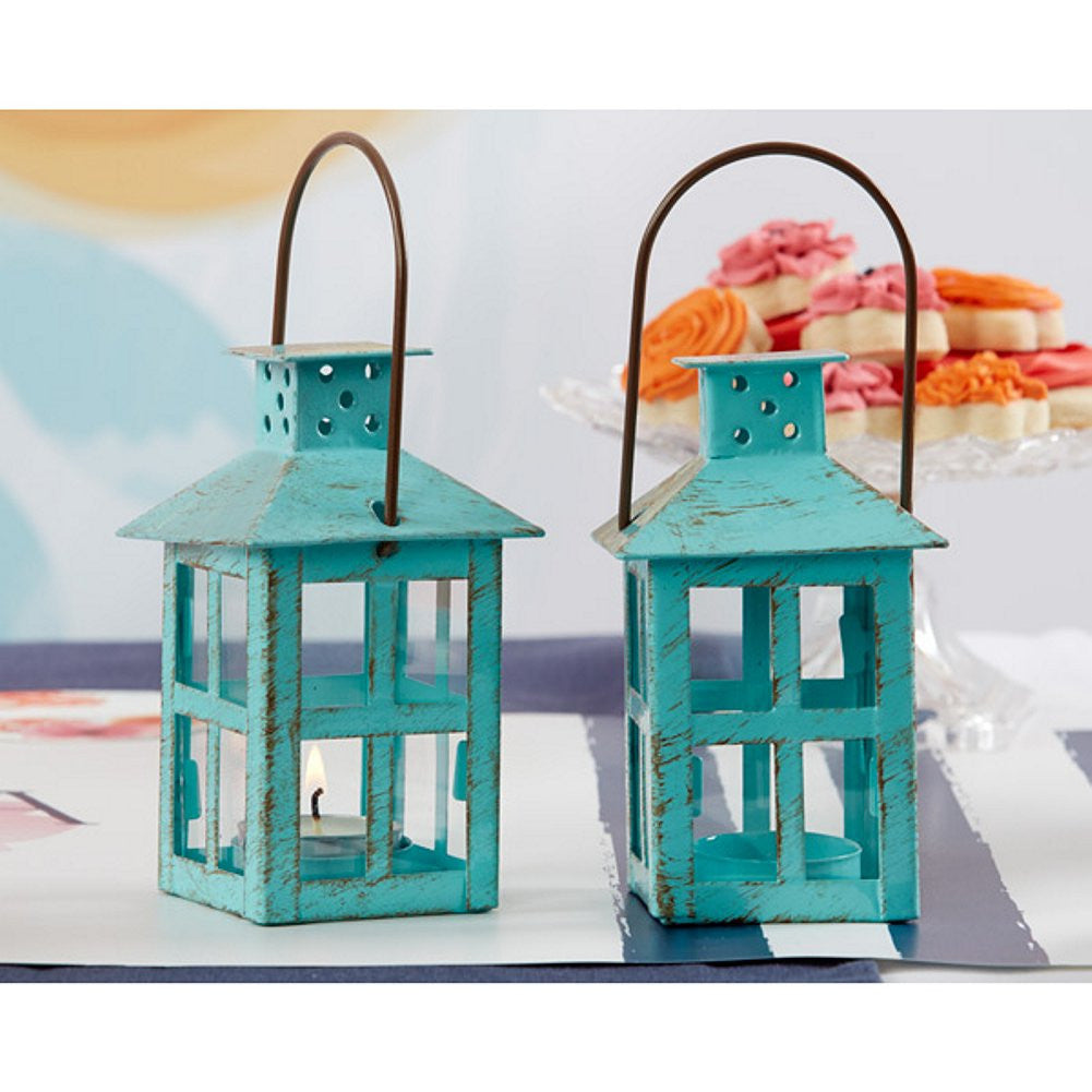 Vintage Blue Lantern, miniature lantern, minature lanterns, vintage lantern, blue table decorations, Candle Holders