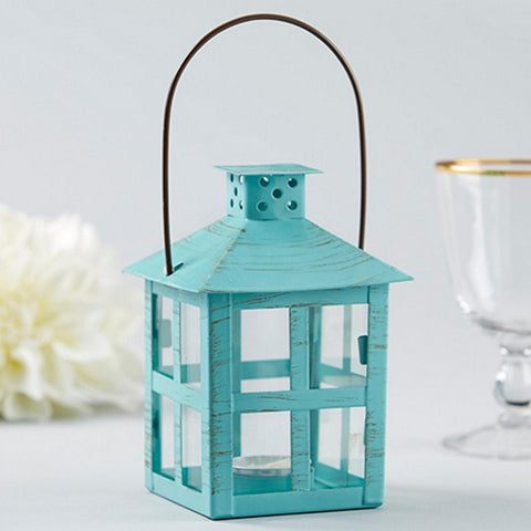 Vintage Blue Distressed Lantern - Medium - Sophie's Favors and Gifts