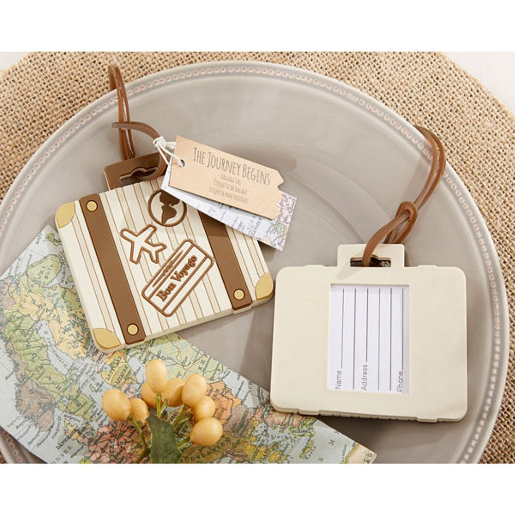 Let The Journey Begin Vintage Suitcase Luggage Tag (Pack of 50), destination wedding decorations, destination wedding favor, luggage tag wedding favor, bon voyage favor, Practical Favors
