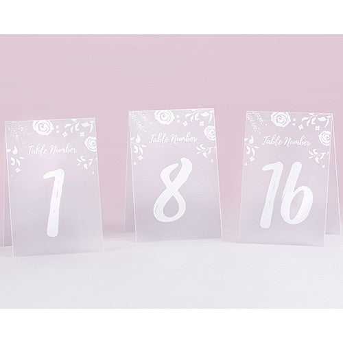 White Frosted Floral Tented Table Numbers 1-18 - Sophie's Favors and Gifts