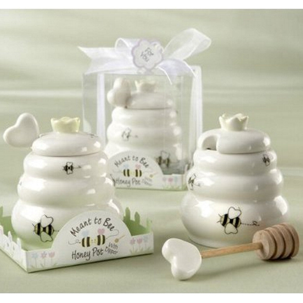 Meant to Bee Ceramic Honey Pot with Wooden Dipper, meant to bee theme, meant to be theme, meant to bee favor, best practical wedding favor, Practical Favors