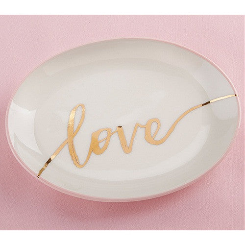 White Love Trinket Dish With Gold Foil Print, bridesmaid gift, wedding party gift, woman birthday gift, mom gift idea, Practical Favors
