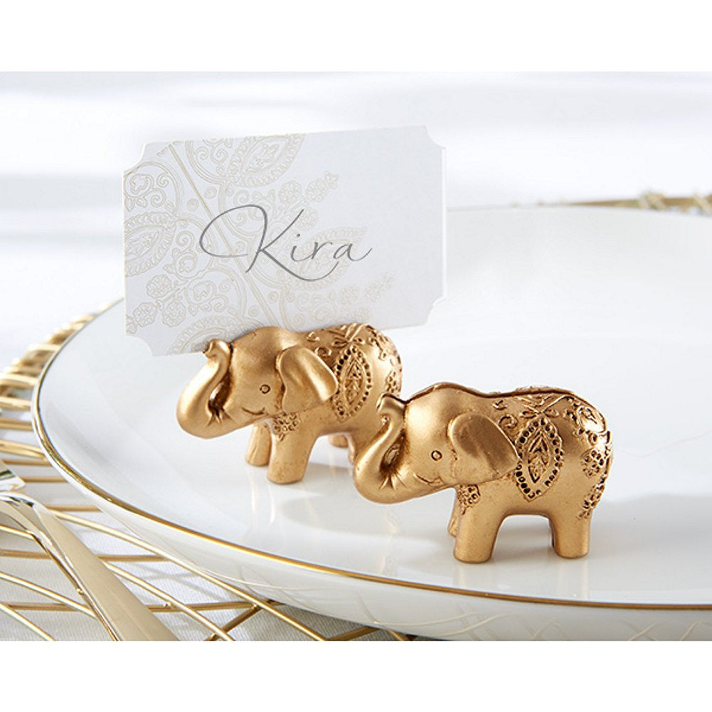 Lucky Golden Elephant Place Card Holders, elephant theme, elephant decorations, asian wedding favor, elephant favor, Table Decorations & Centerpieces