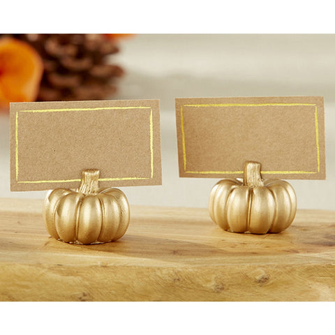 Gold Pumpkin Place Card Holder - Sophie's Favors and Gifts
