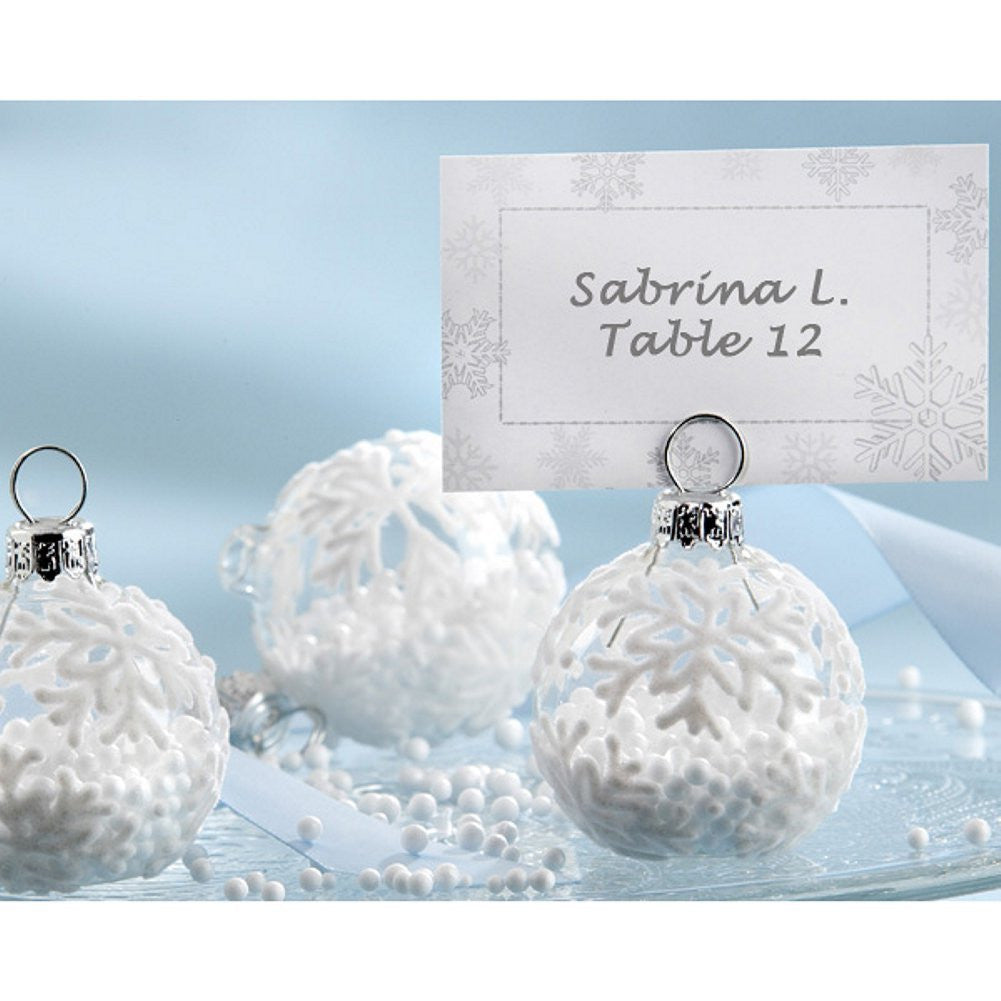 Snow Flurry Flocked Glass Ornament Place Card or Photo Holder - Sophie's Favors and Gifts