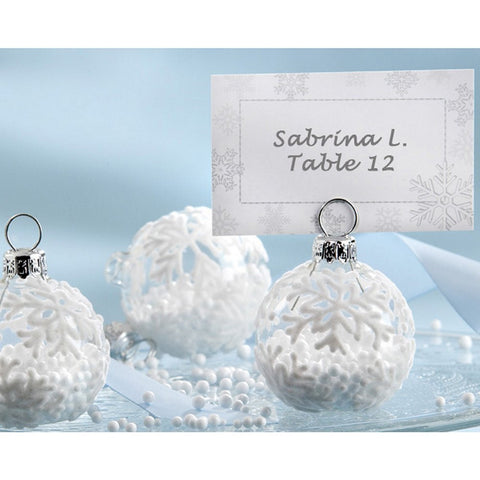 Snow Flurry Flocked Glass Ornament Place Card or Photo Holder, christmas party favor, holiday place card holder, winter wedding placecard holder, winter wedding place card holder, Table Decorations & Centerpieces
