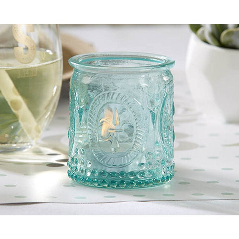 Vintage Blue Glass Tealight Holder - Sophie's Favors and Gifts