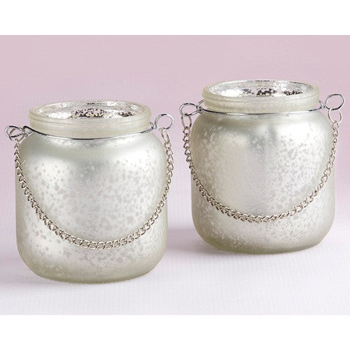 Light Champagne Frosted Mercury Glass Hanging Lantern (1) - Sophie's Favors and Gifts