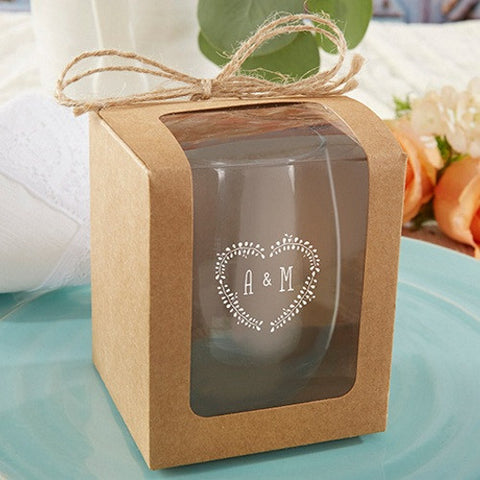 Kraft Stemless Wine Glass Gift Boxes - Set of 12, kraft gift boxes, wine glass gift box, wine gift box, stemless wine glasses, Flutes and Glassware