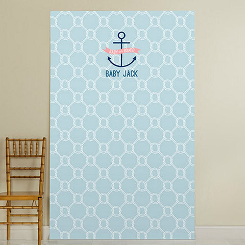 Personalized Photo Booth Backdrop - Nautical Baby Shower Theme - 52in. X 84in., baby boy baby showers, baby boy nautical theme, boy shower decorations, boy baby shower buffet ideas, Party Decorations - Wall - Ceiling - Floor