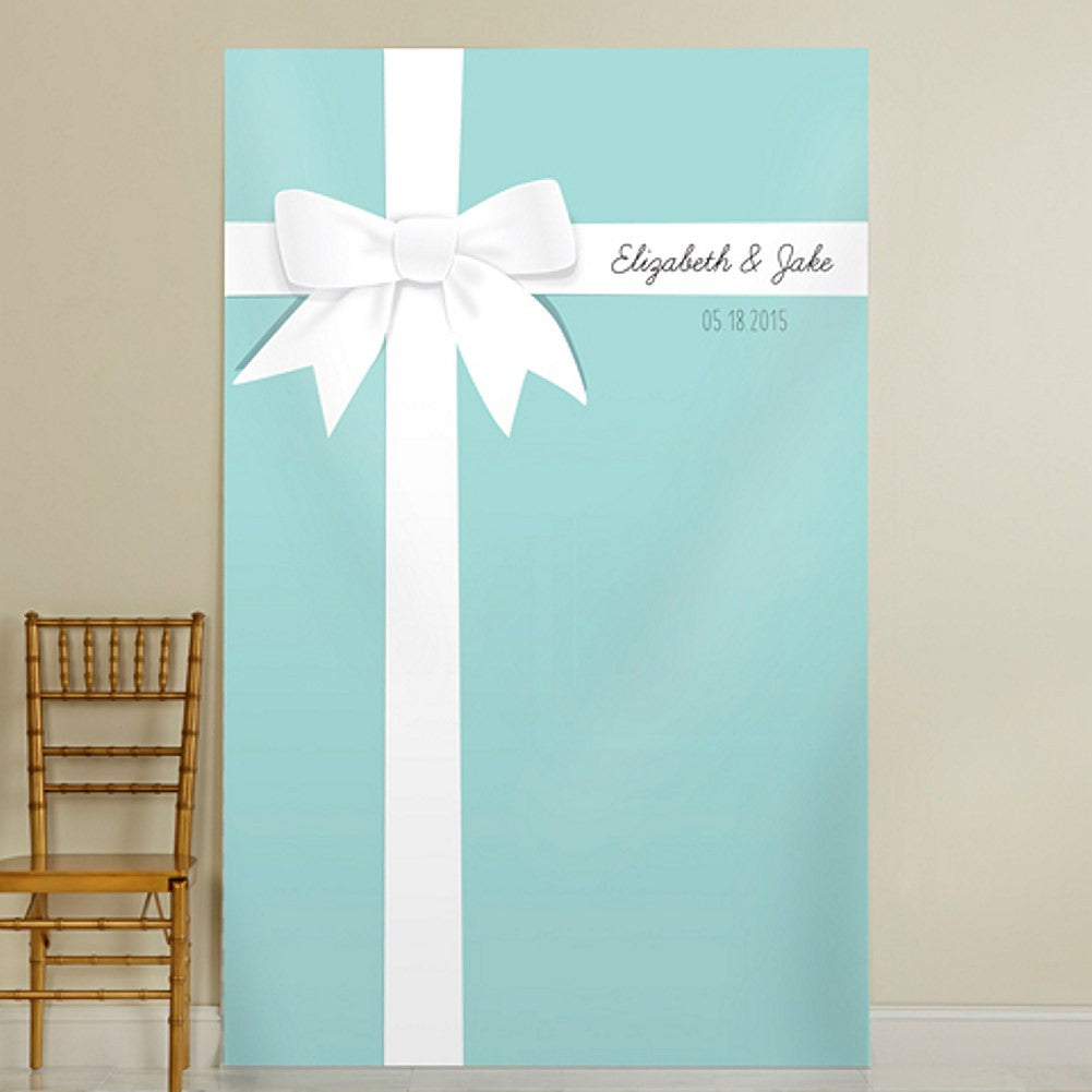 Personalized Photo Backdrop - Aqua Gift Design - 52in. X 84in., aqua blue weddings, breakfast at tiffany wedding, wedding selfie station, photo booth background, Party Decorations - Wall - Ceiling - Floor