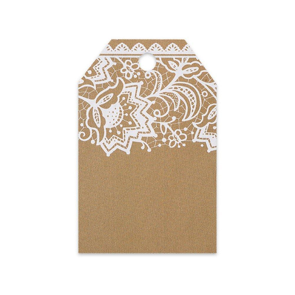 Kraft With White Lace Printed Gift Tags - 2 1/4 x 3 1/2 - 50 Pack - Sophie's Favors and Gifts