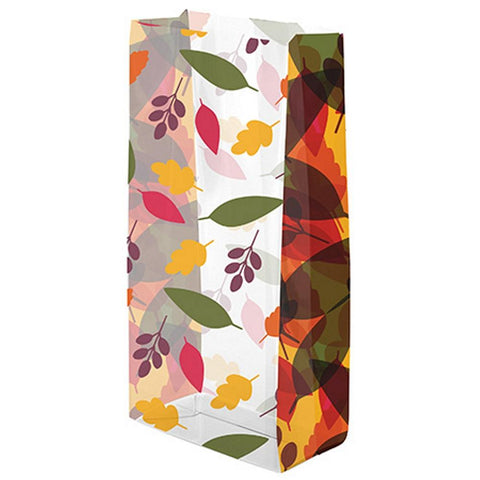 Lots Of Leaves Clear Cello Party Bags - 7 1/2in. x 3 1/2in. x 2in. - 20 Pack - Sophie's Favors and Gifts