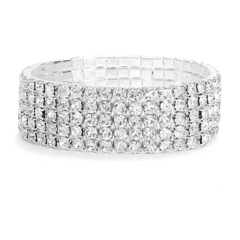 5-Row Stretch Rhinestone Bracelet - Sophie's Favors and Gifts