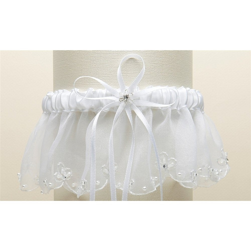 Organza Bridal Garter with Pearls and Chain Edging - White, organza bridal garter, organza wedding garter, garter with pearls, pearl garter, Wedding & Prom Garters