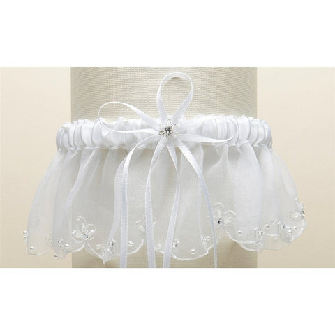 Organza Bridal Garter with Pearls and Chain Edging - White - Sophie's Favors and Gifts