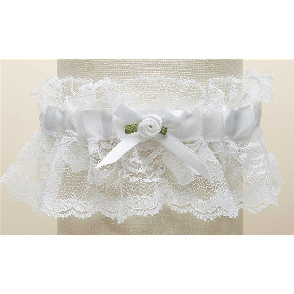Hand-Sewn Vintage Lace Wedding Garter - White - Sophie's Favors and Gifts