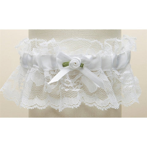 Hand-Sewn Vintage Lace Wedding Garter - White, white wedding garter, white bridal garter, white garter with lace, vintage garter, Wedding & Prom Garters