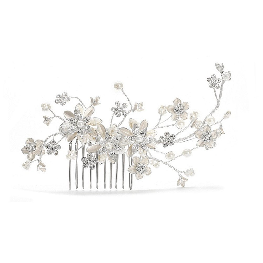 Pearl and Crystal Bridal Comb with Soft Rum Flowers - Sophie's Favors and Gifts