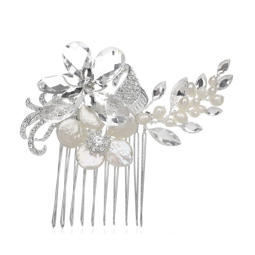 Crystal Bridal Comb with Freshwater Spray - Sophie's Favors and Gifts
