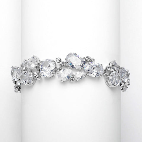 Exquisite Bridal or Evening Bracelet with Multi Cubic Zirconia Shapes - Sophie's Favors and Gifts