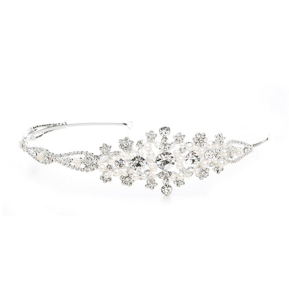 Crystal Wedding Headband or Tiara with Side Floral Design, side headband, side tiara, flower tiara, crystal headband, Wedding Hair Accessories
