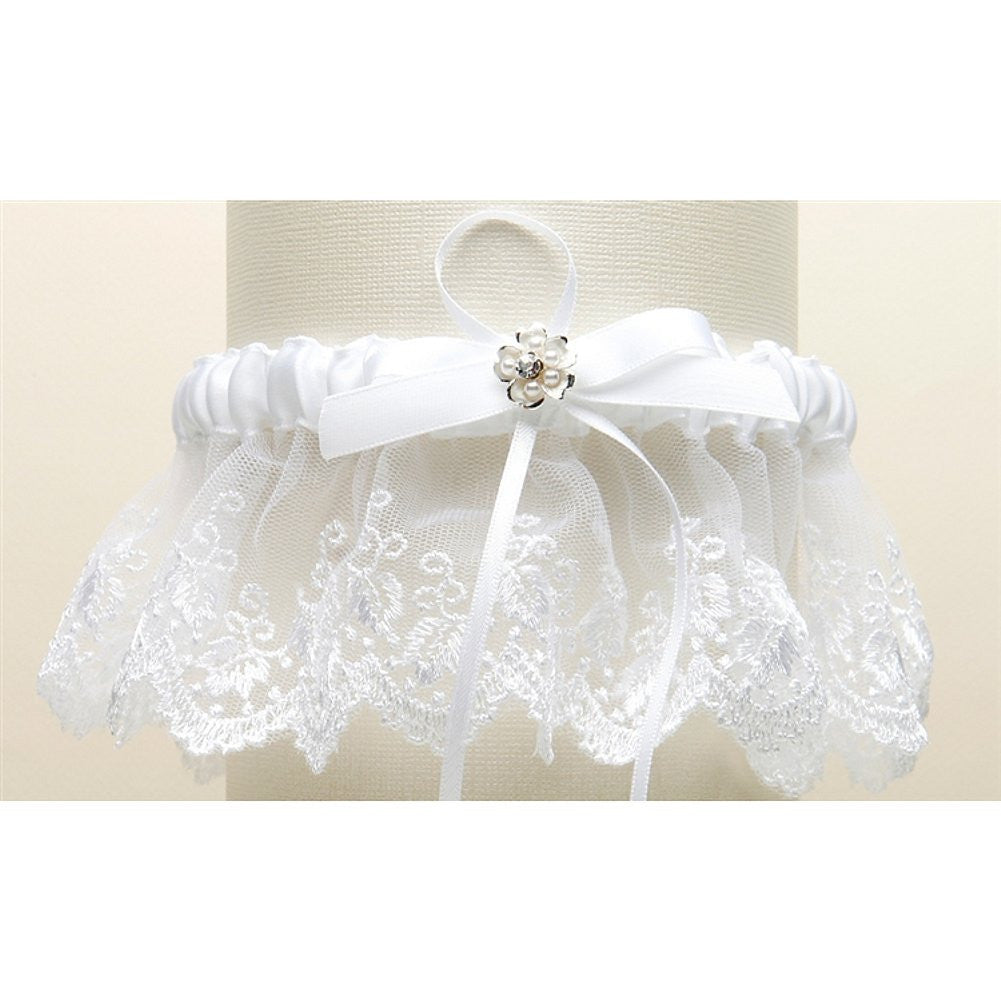 Embroidered White Lace Scalloped Garter with Brushed Silver Flower - Sophie's Favors and Gifts
