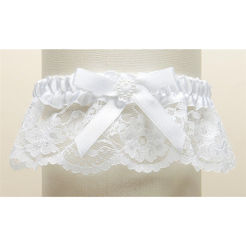 White Lace Wedding Garter with Satin Band with Pearl Heart - Sophie's Favors and Gifts