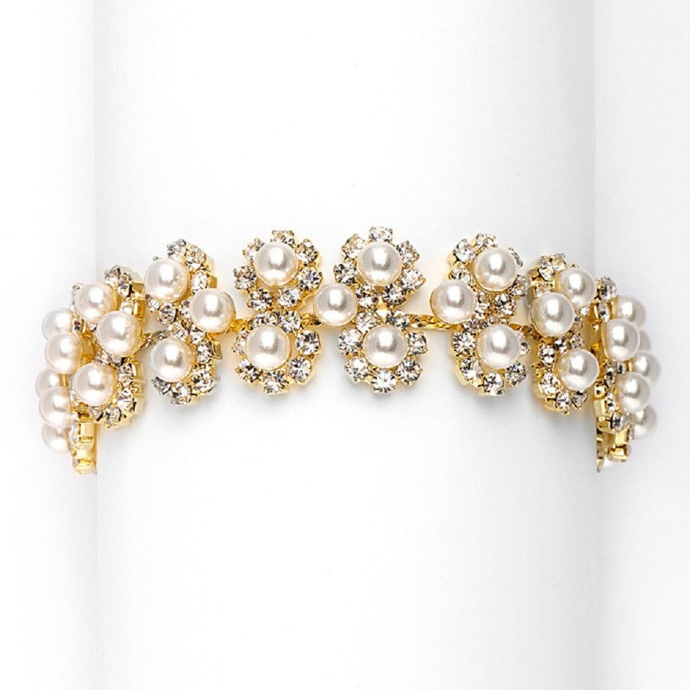 Ivory Pearl and Gold Rhinestone Bridal Bracelet with Daisies - Sophie's Favors and Gifts
